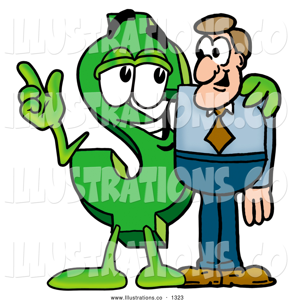 Dollar Man Cartoon Dollar Sign Mascot Cartoon