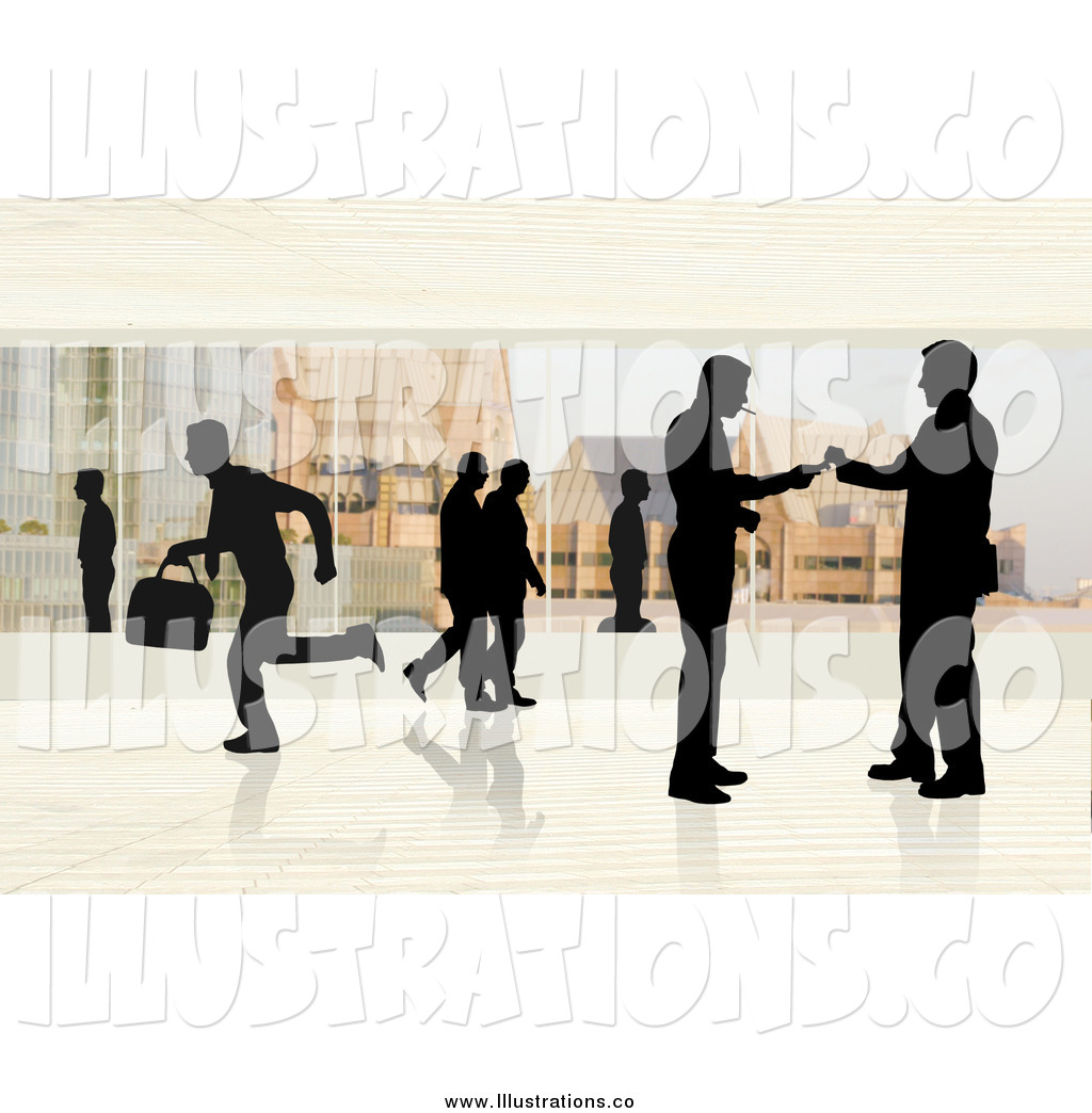 Royalty Free Stock Illustration Of Silhouetted People In A Corporate Office