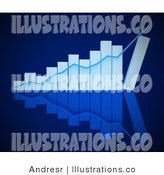 Blue Upward Trend on a White Bar Graph - Royalty Free Stock Illustration by