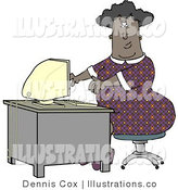 Cartoon Illustration of a Black Woman Working on a Computer by Djart
