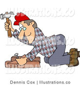 Cartoon Illustration of a Carpenter Man Hammering Nail Through Wood by Djart