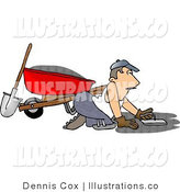 Cartoon Illustration of a Man Spreading Cement on the Ground by Djart
