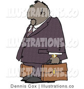 Cartoon Illustration of a Mexican Businessman Traveling with Leather Briefcases by Djart