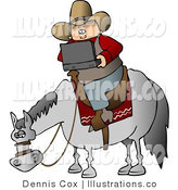 Cowboy Using a Wireless Laptop Computer While Sitting on a Saddled Horse - Royalty Free Stock Illustration by Djart