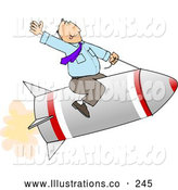 Illustration of a Businessman Flying on an Ignited Rocket by Djart