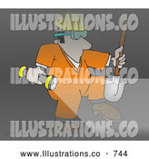 Illustration of a White Sewer Worker Walking Through a Dark Tunnel by Djart