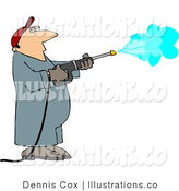Pressure Washer Worker - Royalty Free Stock Illustration by Djart