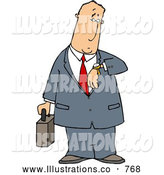 Royalty Free Illustration of a Bored Businessman Checking Time on His Wristwatch by Djart