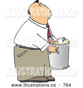 Royalty Free Illustration of a Businessman Taking out Trash and Garbage by Djart