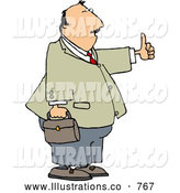 Royalty Free Illustration of a Casual Businessman with Thumbs up by Djart
