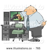 Royalty Free Illustration of a Caucasian Angry Businessman Pointing a Gun at His Computer Tower by Djart