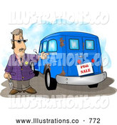 Royalty Free Illustration of a Caucasian Car Salesman Trying to Sell an Old Rusty Vehicle by Djart