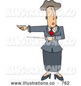 Royalty Free Illustration of a Caucasian Executive Woman Pointing a Pointer Stick Towards Her Right by Djart