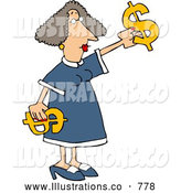 Royalty Free Illustration of a Caucasian Money Woman Putting Decorating with Dollar Signs by Djart