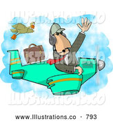 Royalty Free Illustration of a Caucasian Private Pilot/Businessman Flying a Plane by Djart