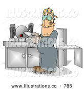 Royalty Free Illustration of a Caucasian Sheet Metal Worker in a Fabrication Shop by Djart