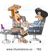 Royalty Free Illustration of a Caucasian Woman Getting a Manicure at a Professional Nail Salon Business by Djart