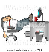 Royalty Free Illustration of a Exhausted Sleeping Businessman Resting Feet on Computer Desk by Djart