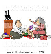 Royalty Free Illustration of a Helpful Shoe Salesman Helping an Elderly Woman Pick out a New Pair of Shoes by Djart