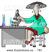 Royalty Free Illustration of a Intelligent Female Scientist Using a Microscope in a Laboratory by Djart