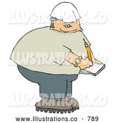 Royalty Free Illustration of a Male Construction Worker Writing and Documenting on Notepad by Djart