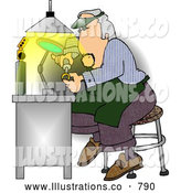 Royalty Free Illustration of a Male Jeweller Working on Fixing a Gold Wedding Ring by Djart