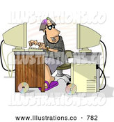 Royalty Free Illustration of a Male Programmer Trying to Hack into Computer, on White by Djart