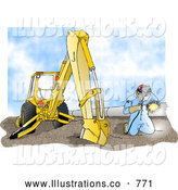 Royalty Free Illustration of a Man Welding on a Metal Pipeline Line Beside a Construction Tractor on a Nice Sunny Day by Djart
