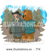 Royalty Free Illustration of a Mean Person Wearing a Bear Costume While Trying to Scare a Female Forest Ranger by Djart