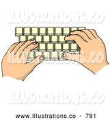 Royalty Free Illustration of a Pair of Hands Typing on a Computer Keyboard by Djart