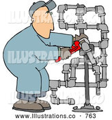 Royalty Free Illustration of a Plumber Man Working on Pipes with a Wrench by Djart