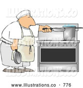 Royalty Free Illustration of a Short Order Cook Heating Food on a Stove Burner by Djart