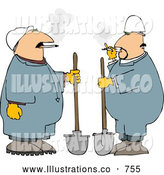 Royalty Free Illustration of a Two White Workers Smoking Cigarettes While Holding Shovels by Djart
