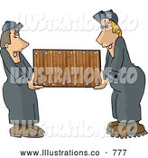 Royalty Free Illustration of a Two Worker Men (Movers) Moving a Piece of Furniture by Djart
