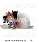 Royalty Free Illustration of a Unaware Rodeo Clown with His Back Facing a Silhouetted Dangerous Bull by Djart