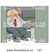 Royalty Free Illustration of a White Businessman Smoking a Cigarette in His Cubicle by Djart