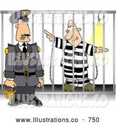 Royalty Free Illustration of a White Guard with Keys Standing Beside a Prisoner in Jail Cell by Djart