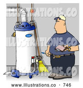 Royalty Free Illustration of a White Local Water Heater Repairman Taking Notes by Djart