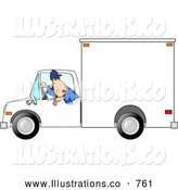 Royalty Free Illustration of a White Man Backing up a Delivery Truck by Djart