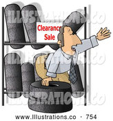 Royalty Free Illustration of a White Salesman Trying to Sell Tires on Clearance by Djart