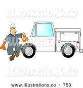 Royalty Free Illustration of a White Worker Putting out Cones Around His Utility Truck by Djart