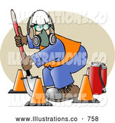 Royalty Free Illustration of a White Worker Wearing Safety Gear While Digging with a Shovel by Djart