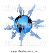 Royalty Free Stock Illustration of 3d Blue Business People Walking on the Earth by 3poD