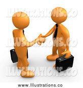 Royalty Free Stock Illustration of 3d Orange Business Men Meeting and Shaking Hands by 3poD