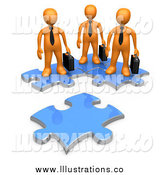 March 21st, 2014: Royalty Free Stock Illustration of 3d Orange Business Men on Connected Puzzle Pieces, Looking at a New Piece by 3poD