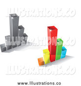 Royalty Free Stock Illustration of 3d Silver and Colorful Bar Graphs by Vector Tradition SM