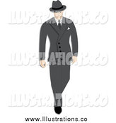 Royalty Free Stock Illustration of a 1940s Styled Caucasian Businessman Walking in a Suit by Pams Clipart