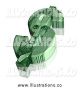 Royalty Free Stock Illustration of a 3d Abraham Lincoln Green Dollar Symbol by ShazamImages