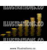 Royalty Free Stock Illustration of a 3d Bar Graph of Gold Coins on Black by