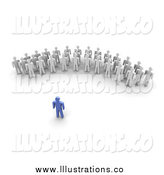 Royalty Free Stock Illustration of a 3d Blue Leader Speaking to a Crowd by Jiri Moucka